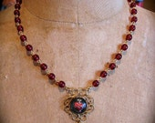 Sale- Vintage  Rare Ex Voto SACRED HEART Intaglio Glass Rosary Style Necklace-   One of a kind