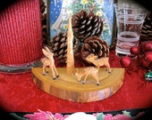Vintage  Hand Carved German Dear Wood Shrine -Perfect gift for any Collector