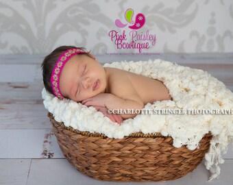 Hot Pink Halo Baby Headband. Newborn Headband. Baby Girl Headbands. Infant Headband. Baby Hairbows. Baby Hair Accessories. Baby hairbows