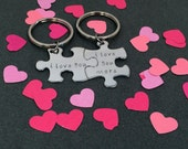I love you I love you more, Unique Wedding Gift, Couple Keychain, Puzzle Piece Keychains, Couples Gift, Non Customizable