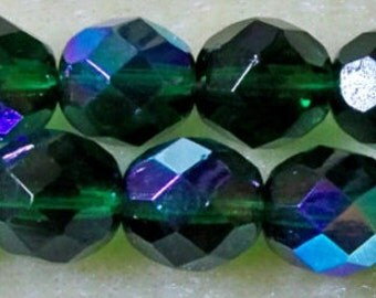 Firepolish Glass Beads 8mm Round 1 New Strand Preciosa Brand Name Emerald Green ab