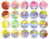 Mono Print Mixed Media Stickers 6 - Round