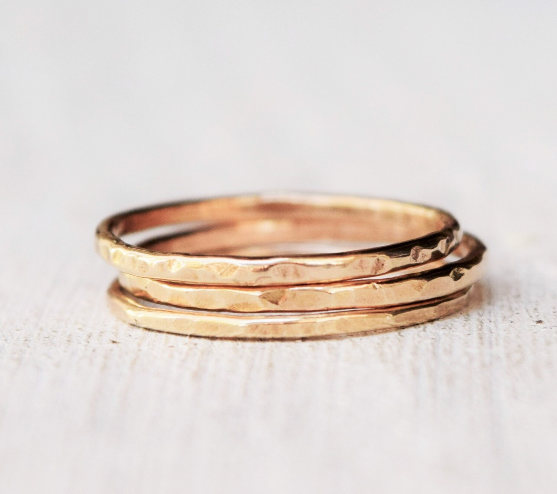 14 Karat Bands: Thin Solid Yellow Gold Ring One Band 14 Karat Gold