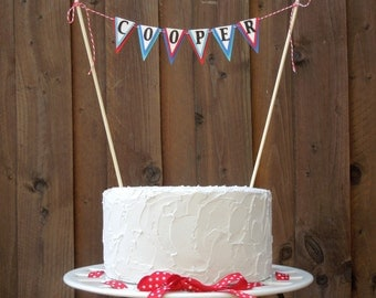 Mini Cake Banner Bunting Centerpiece for Nautical Sailboat Birthday Party