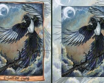 Magpie Print, Black Bird Wall Art, Eight of Cups Tarot Card, Night Sky, Crescent Moon, Spirit Animal, Nature Poster, Animism Tarot Deck
