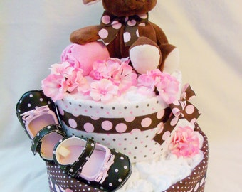 Baby Girl Diaper cake - Two Tier Blanket Diaper Cake - made to order