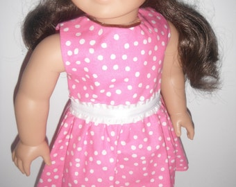 Doll Clothes Pink n White Polka Dots Dress Spring And Summer Occasions With Matching Headband