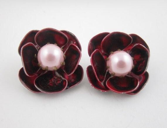 Enamel Flower Earrings Burgundy Swirl Pink Pearl Clip On