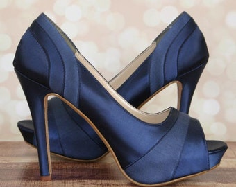 Custom Wedding Shoes Navy Blue Platform Peep Toe With Satin And Chiffon