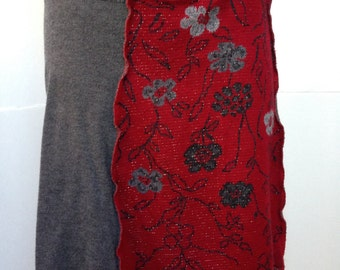 Recycled Sweater Skirt, Wool and Blends, Grey and Red with Flowers and Sparkles, Small, #S249