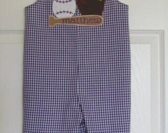 Baby Boy Shortall Longall Baseball Louisiana Tigers Romper jon jon Monogram 1st Birthday Outfit