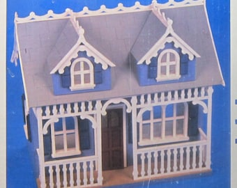 Vintage Dollhouse Tiffani Kit Wooden Vintage Gingerbread House 1988 Artply 2 Story with 4 Rooms Vintage Dollhouse Kit Artply New in