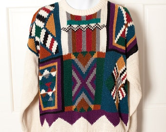 Vintage 80s 90s Wild Men's Sweater - ETCHINGS - L
