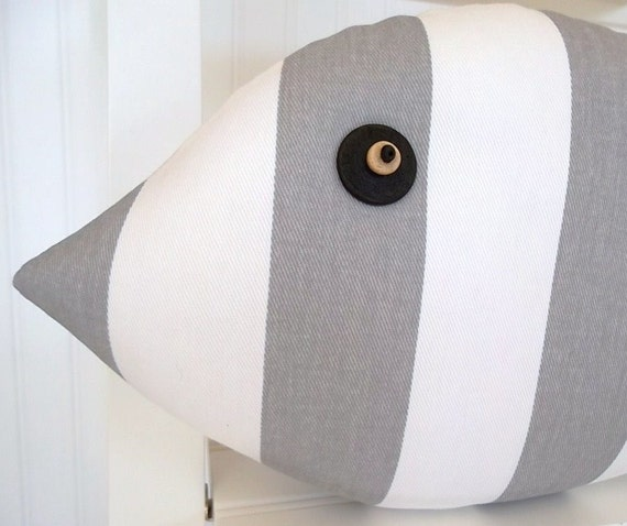 gray and white striped fish pillow neutral beach decor. Black Bedroom Furniture Sets. Home Design Ideas