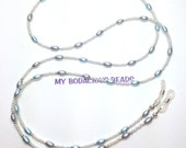 "Handmade 34"" WHITE and Baby BLUE PEARL Eyeglass Chain Silver Accent Beads Durable Handy"