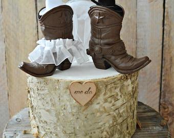 Country western wedding-cowboy boots wedding cake topper-western wedding-cowboy and cowgirl boots topper-boots wedding topper-rustic wedding
