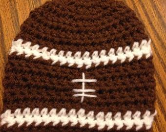 Football Crochet Baby Beanie, Football Hat, Crochet Baby Hat, Baby Boy Hat, Toddler Boy Hat, Photography Prop, Crochet Baby