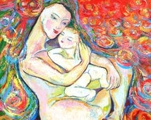 Mother and Child Painting - My precious - Giclee print on canvas Sofan Chan 20inch 20 inch (51cm x51cm)
