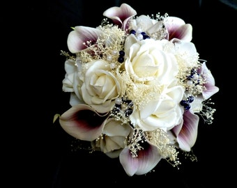 Real touch rose, picasso calla lily,  plum purple and white bridal bouquet, true touch flowers