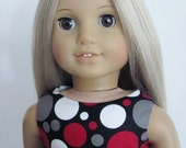 Black Dot Doll Dress and Sash for the American Girl Doll
