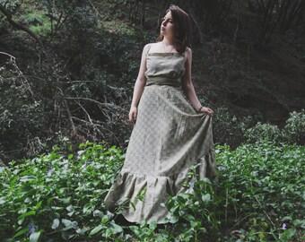 Sage Green Sun Dress | Long green maxi dress | bohemian maxi dress | Long dress with ruffle hem | Hippie Dress