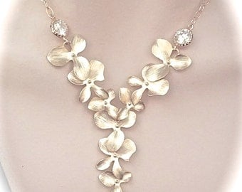 Gold Orchid necklace - Pearl drop - Cubic zirconia - Gold filled - Cascading orchid necklace - Destination wedding jewelry ~ HOPE