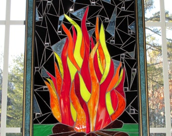 Campfire Stained Glass Mosaic Flames Red Orange Yellow Black Background