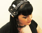 Black Silk Flower & Assuit Headdress / Tribal / Art Nouveau / Belle Epoque