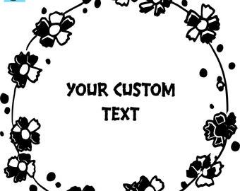 Floral Wreath Wedding Logo Stamp W004