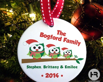 Owl Family of 3 Ornament, Personalized Family Christmas Ornament