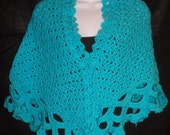 Turquoise Tradewinds Shawl - Lacy Hand Crocheted Shawl
