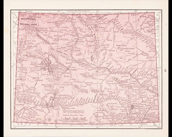 Small Wyoming Map of Wyoming State Map (1900s Wall Decor Print, Old Atlas Wall Art, Vintage Color Map) Antique Map No. 81-3