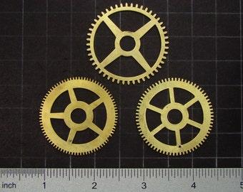 3 vintage brass gears, antique clock movement gears, brass clock wheels Steampunk Supplies 3628