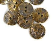 6 Mykonos Button - 16mm Antique Brass - Cornflake Greek Round Metal Button
