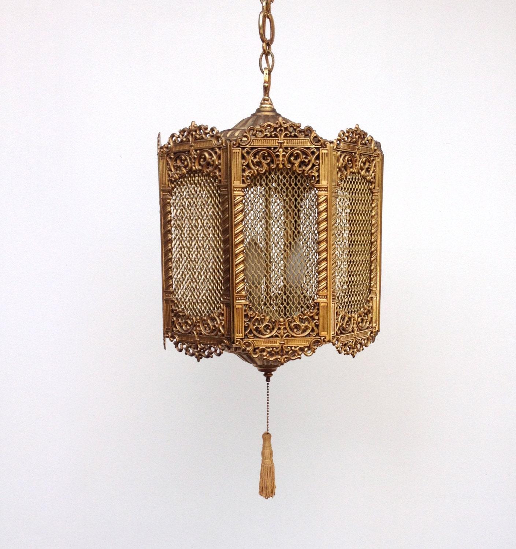 Vintage Swag Lamp Brass Moroccan Hanging Lamp Lantern
