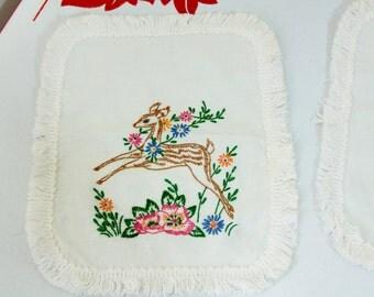 Vintage Embroidered Deer Doilies with Fringe