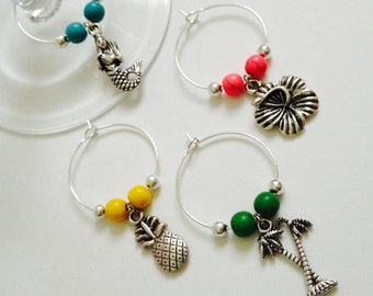 Set of 4 Tropical Wine Charms - Tropical Wine Charms - Set of 4 Beach Wine Charms - Set of Wine Charms - Beach Cottage Collection