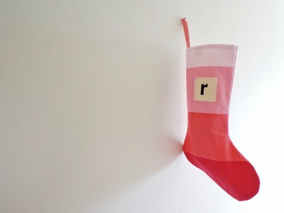 Personalized Christmas Stocking Personalized, Modern Striped Colorblock Personalized Stocking Monogram Color Block Girl Boy Wonderland Pink