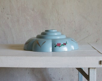 Vintage Light Shade // 1950 French Hand Painted Light Fixture // Early Plastic Pastel Blue // Floral Flowers
