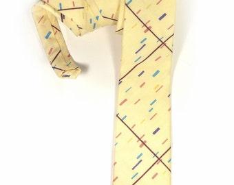 Wedding Mens tie, light yellow, cream bauhaus groomens necktie
