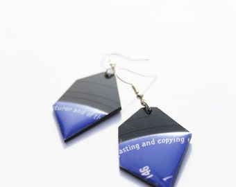 upcycled record earrings black and blue earrings quirky earrings music jewellery unique earrings geek jewelry nugget earrings gift idea