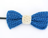 Crochet Bow / Blue Bow Pin / Girl's Hair Pin / Hair Accessory / Crochet Hair Pin