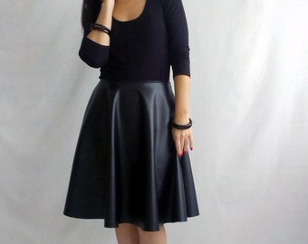 Black leather skirt, midi skirt, black skirt, leather skirt, knee skirt, long skirt, half circle skirt, black long skirt,faux leather skirt