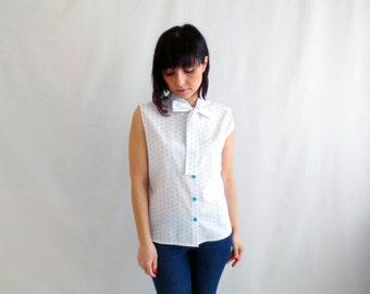 Polka dot sleeveless shirt, white blouse, polka dot camisole, white shirt, 50s inspired tshirts, camisole, womens top, cotton top