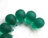 Glass beads Matte Teal Green large Teardrops, czech drop beads, Briolettes - 10x14mm - 6Pc - 0893