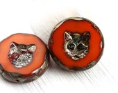 2pc Cat beads, 24mm Extra large beads - dark orange with Picasso finish, czech glass, table cut, glass cat - 1777