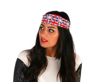 union jack headband, Cotton Headband, British flag Hair Band, Retro Headbands, rockabilly headband, womens headband, custom headband