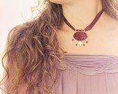 Choker Necklace with Druzy Pendant and Garnet Stones - Ribbon Necklace in Wine Purple, OOAK