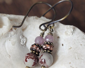 Jasper and Jade Earrings - Small, dainty, Everyday Earrings in Brown and Purple