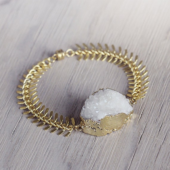 White Druzy Bracelet - Statement White Druzy Jewelry - White Statement Bracelet - Glamorous Bracelet - White and Gold Bracelet